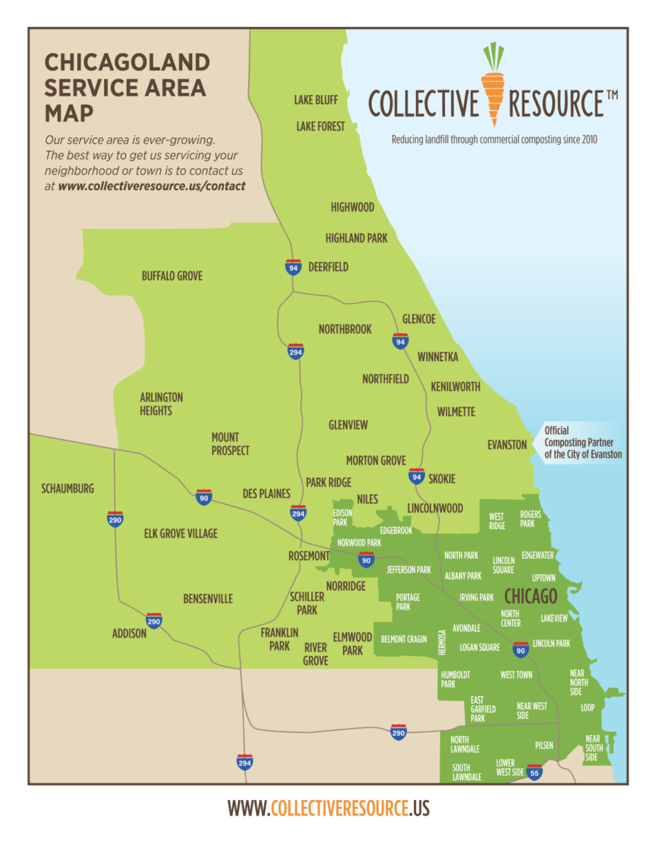 Chicagoland composting service area